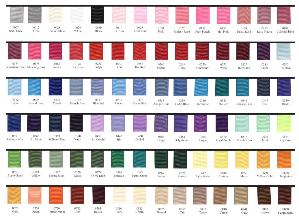 Grosgrain Ribbon Color Chart